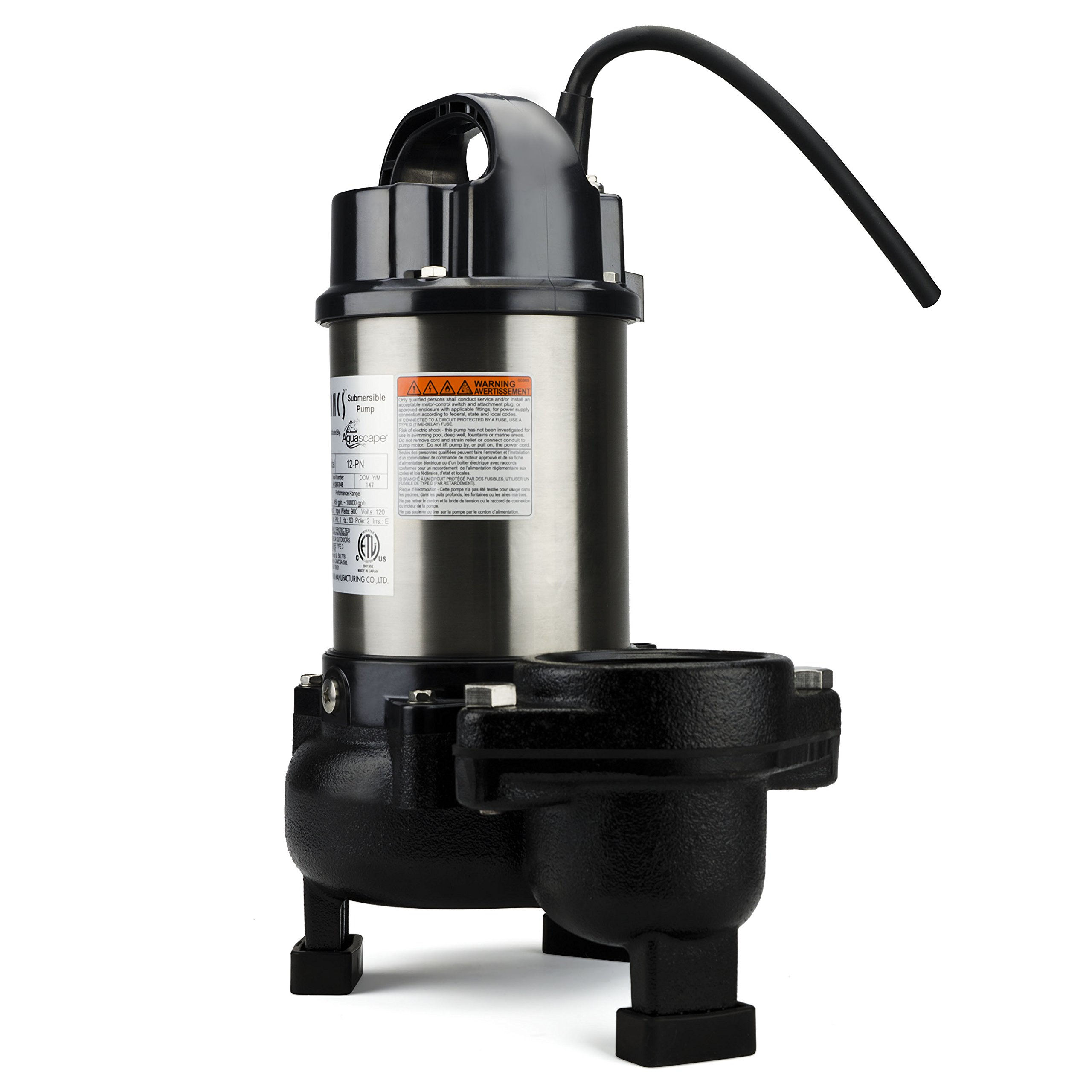 Aquascape 30391 Tsurumi 12PN Submersible Pump for Ponds, Skimmer Filters, and Pondless Waterfalls, 10,000 GPH by Tsurumi (Image #2)
