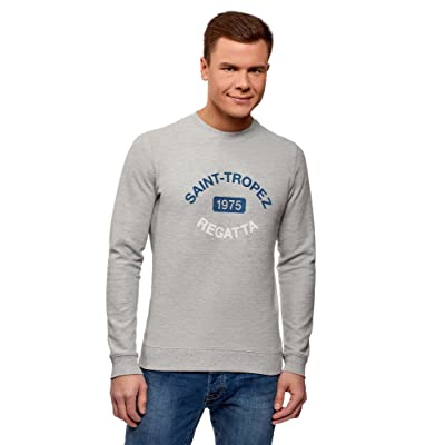 oodji Ultra Men's Cotton Sweatshirt with Print: Clothing