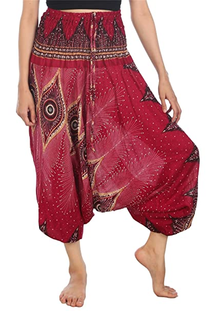 e6942a1c6883f Lofbaz Women's Floral Eye Harem Smocked Waist 2 in 1 Jumpsuit Pants  Burgundy S