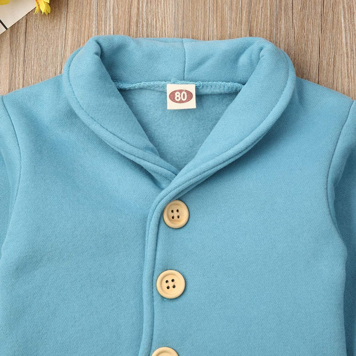 Marksmile Unisex Toddler Baby Winter Coat Long Sleeve Shirt Collar Button Down Solid Color Organic Cotton Sweater Jacket