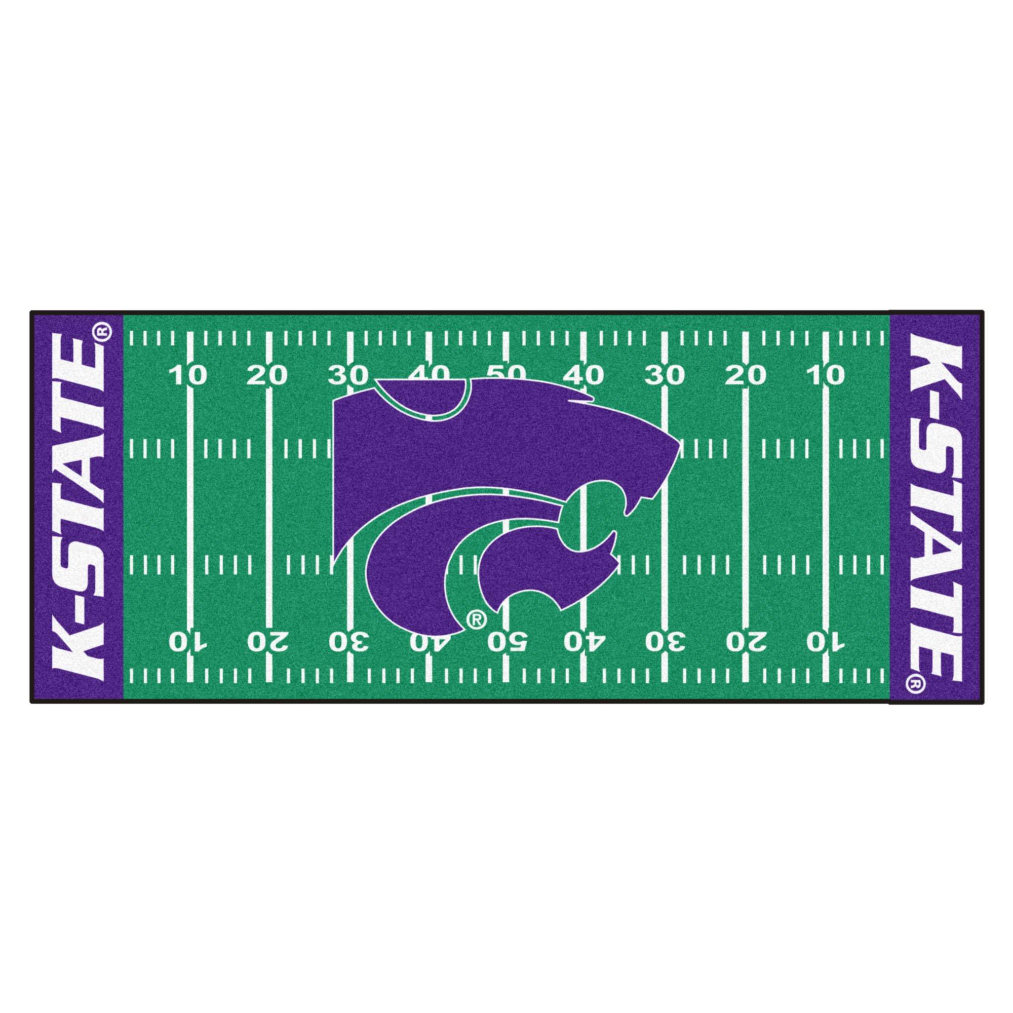 NCAA Kansas State University Wildcats Football Field Runner Mat Area Rug