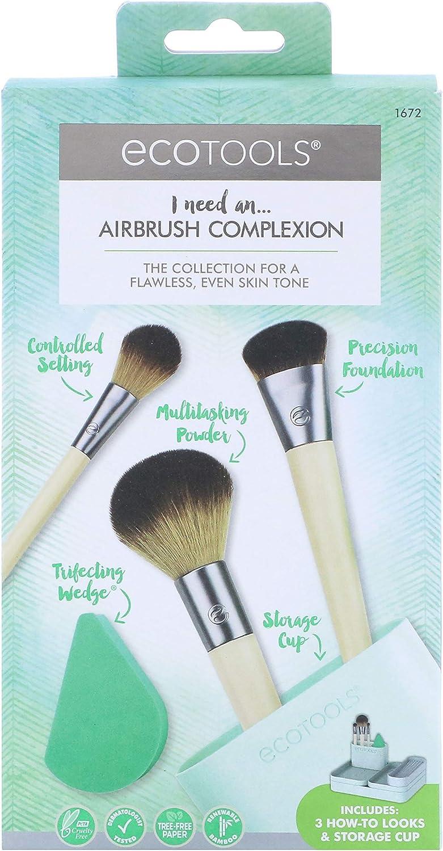 Ecotools Airbrush complexion kit - set de 4 brochas + esponja 21 g: Amazon.es: Belleza