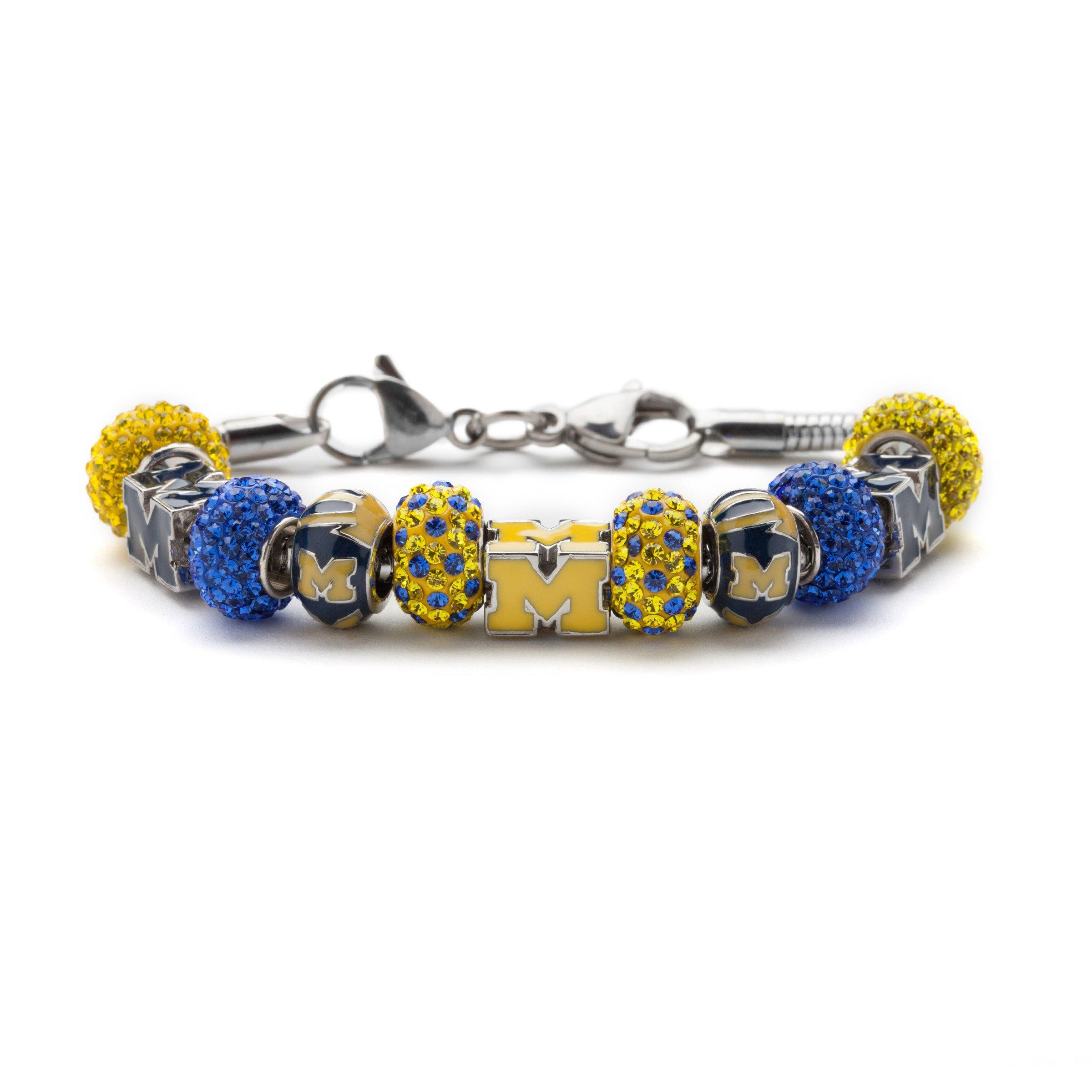 University of Michigan Bracelet | UM Wolverines Block M Bead Charm Bracelet | Officially Licensed University of Michigan Jewelry | UM Gifts | Michigan Wolverines | UM Jewelry | Stainless Steel