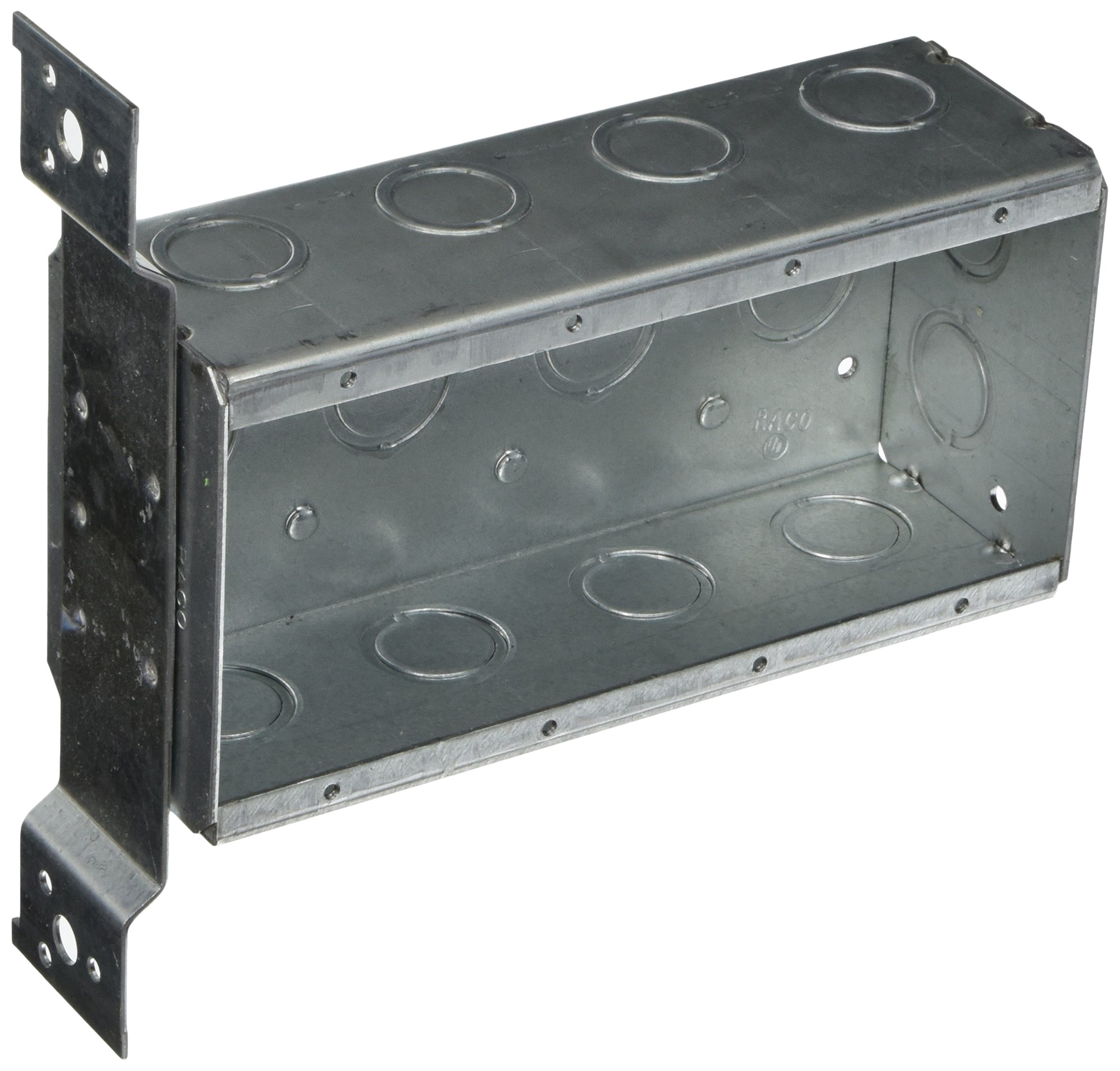 Hubbell-Raco 687 4 Gang 2-1/2-Inch Deep Switch Box, Welded with 1/2-Inch Setback Side Bracket, (12) Concentric 1/2-Inch & 3/4-Inch Knockouts
