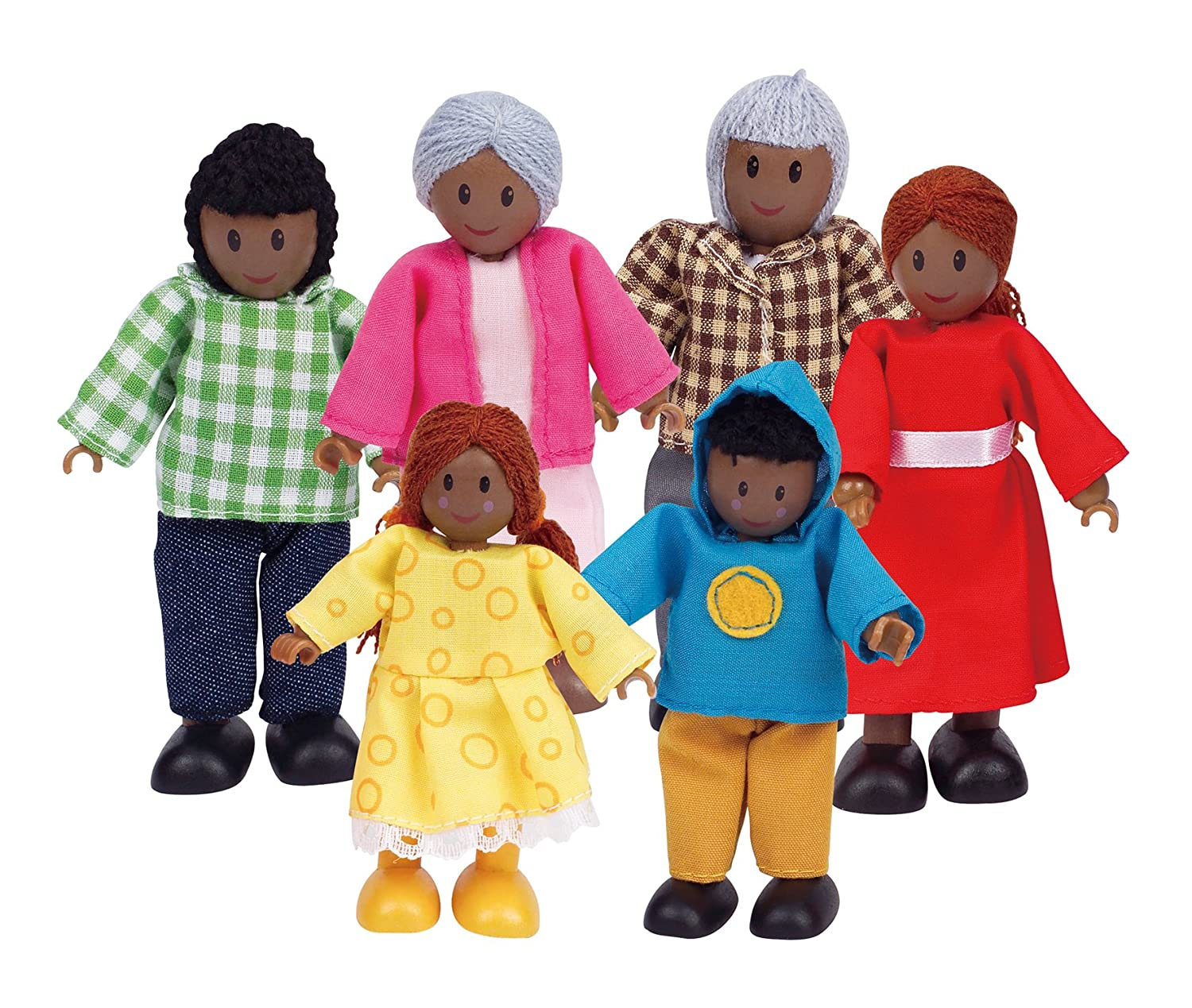 Hape African American Wooden Doll House Family E3501