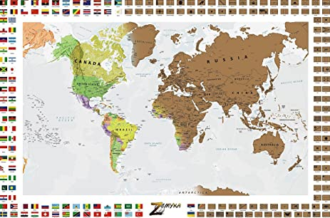 Amazon deluxe scratch off world map states provinces for deluxe scratch off world map states provinces for us canada australia gumiabroncs Images