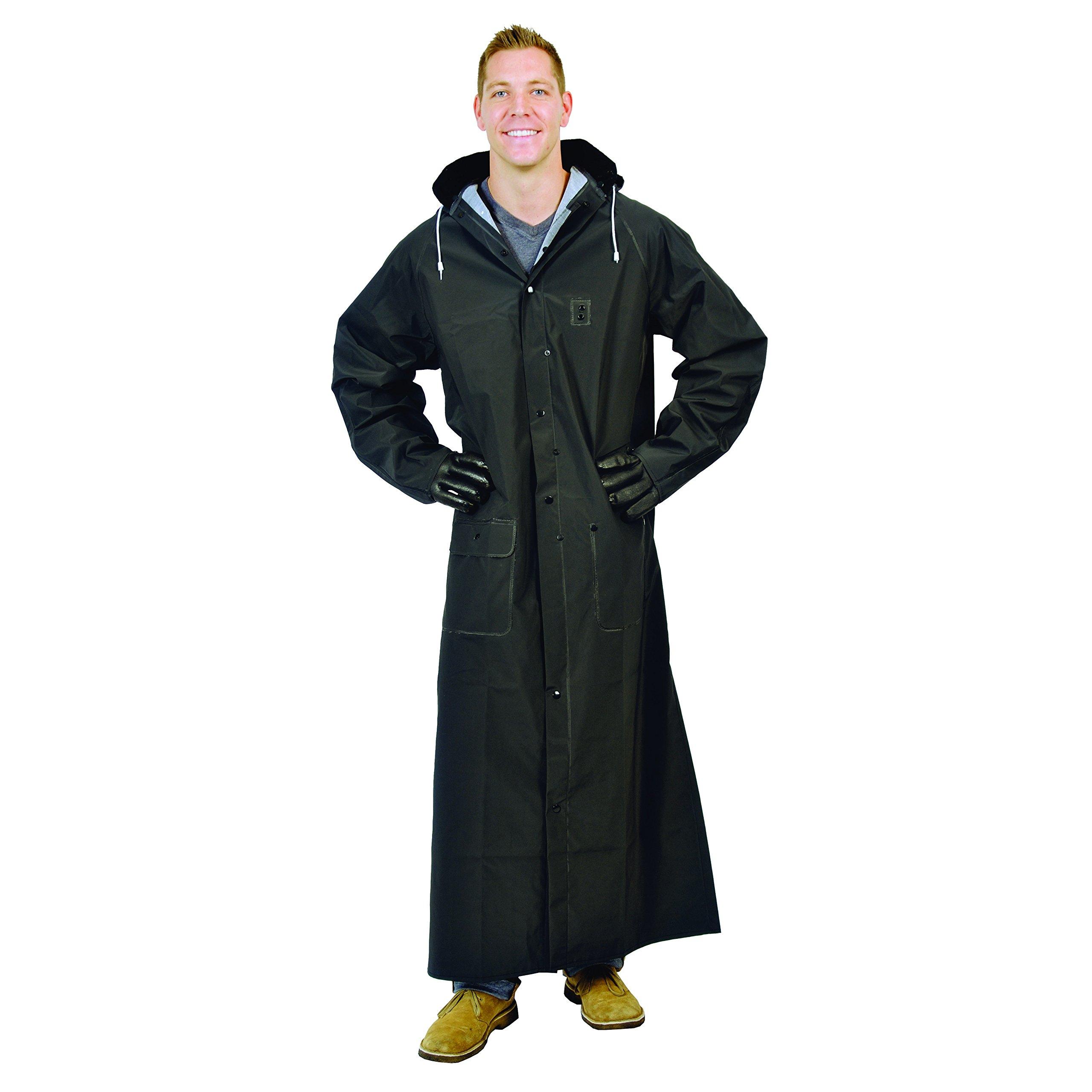 Galeton 12560-XL-BK  Repel Rainwear 0.35 mm PVC 60'' Raincoat for More Coverage, XL, Black