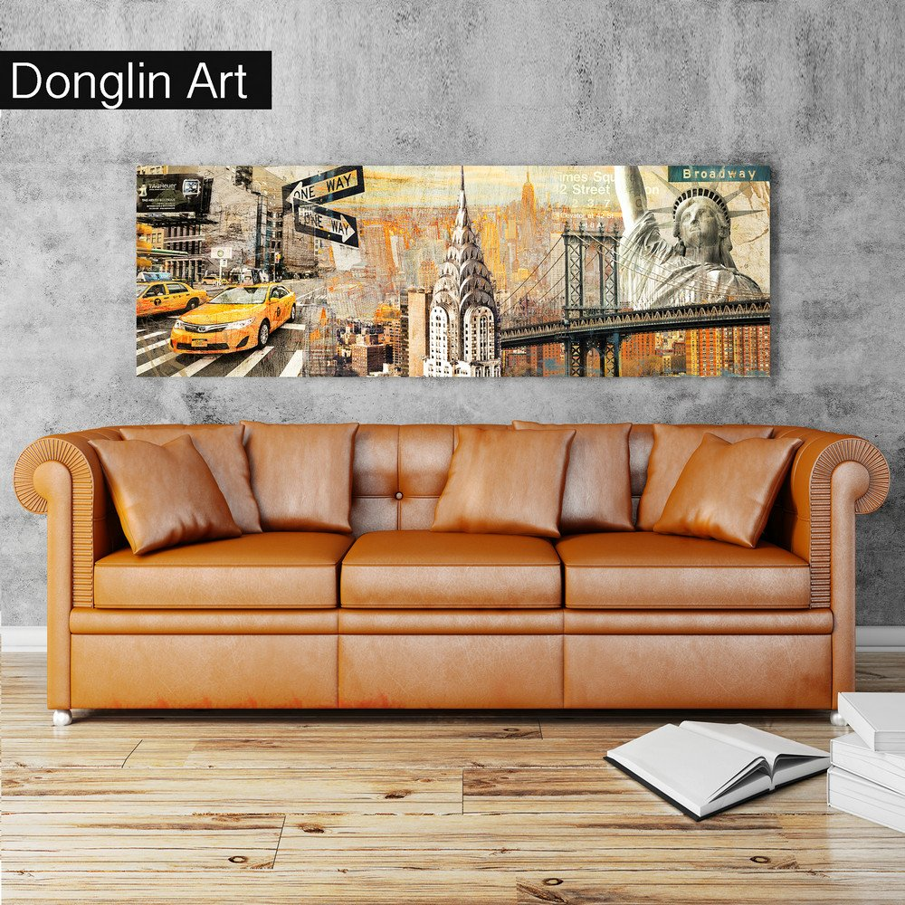 Donglin Art-New York Painting Brooklyn Bridge Paintings Wall Art Decor The Statue of Liberty Chrysler Paintings for Living Room and Bedroom Decor Framed and Stretched (30 x 30 x 3 pcs, Vintage)