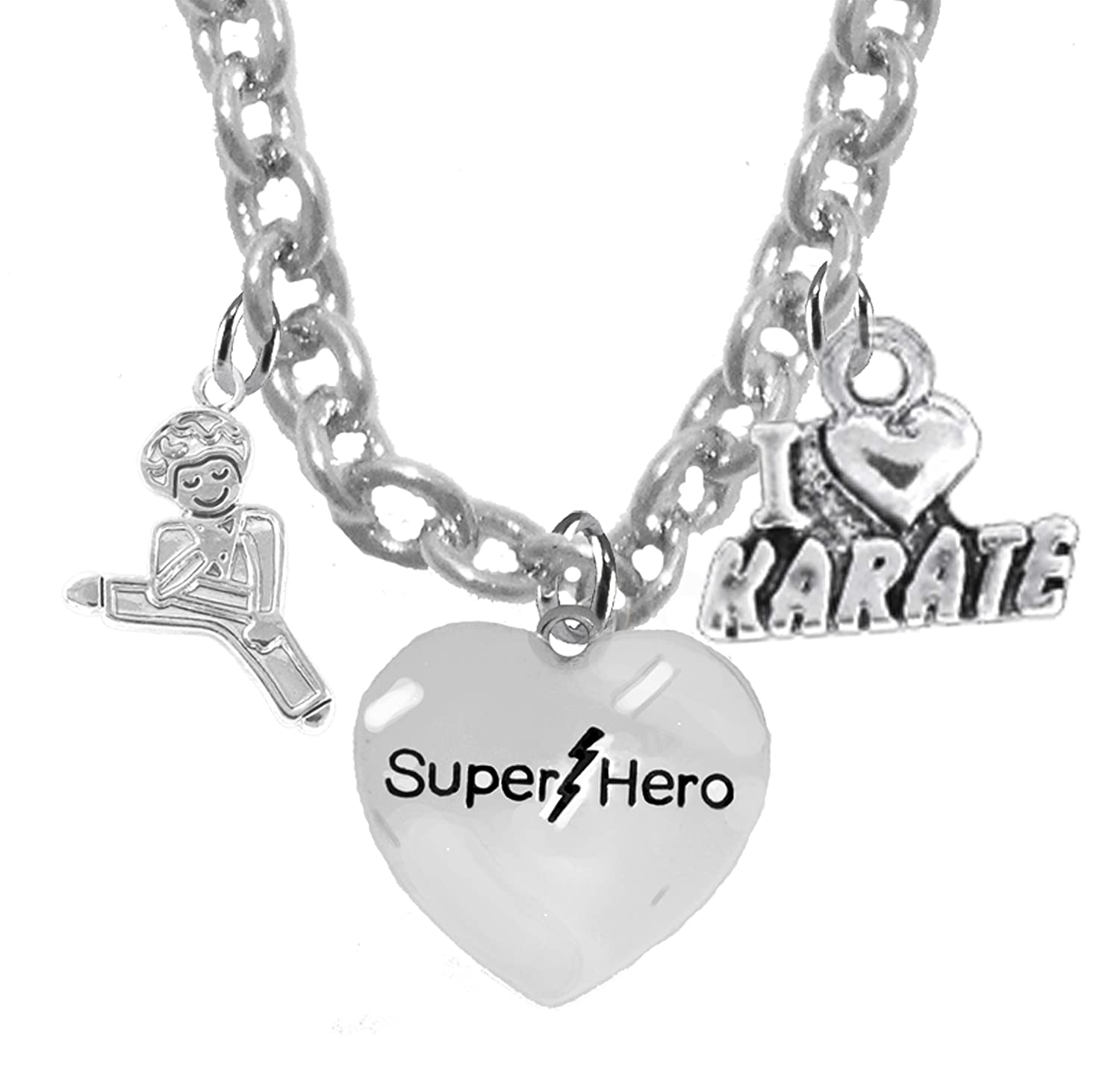 Hypoallergenic Cardinali/® Jewelry Childrens Martial Arts Karate Jewelry Kickboxing Childrens Safe-Nickel Lead And Cadmium Free Super Hero Adjustable Necklace