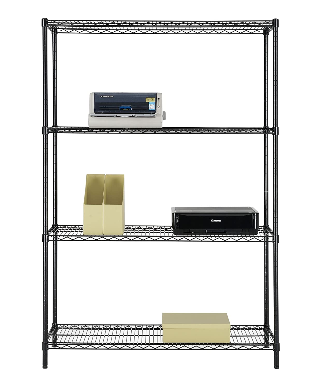 Excel International ES-481872P NSF Certified All Purpose 4-Tier Shelving, 48 X 72 X 18-Inch, Black