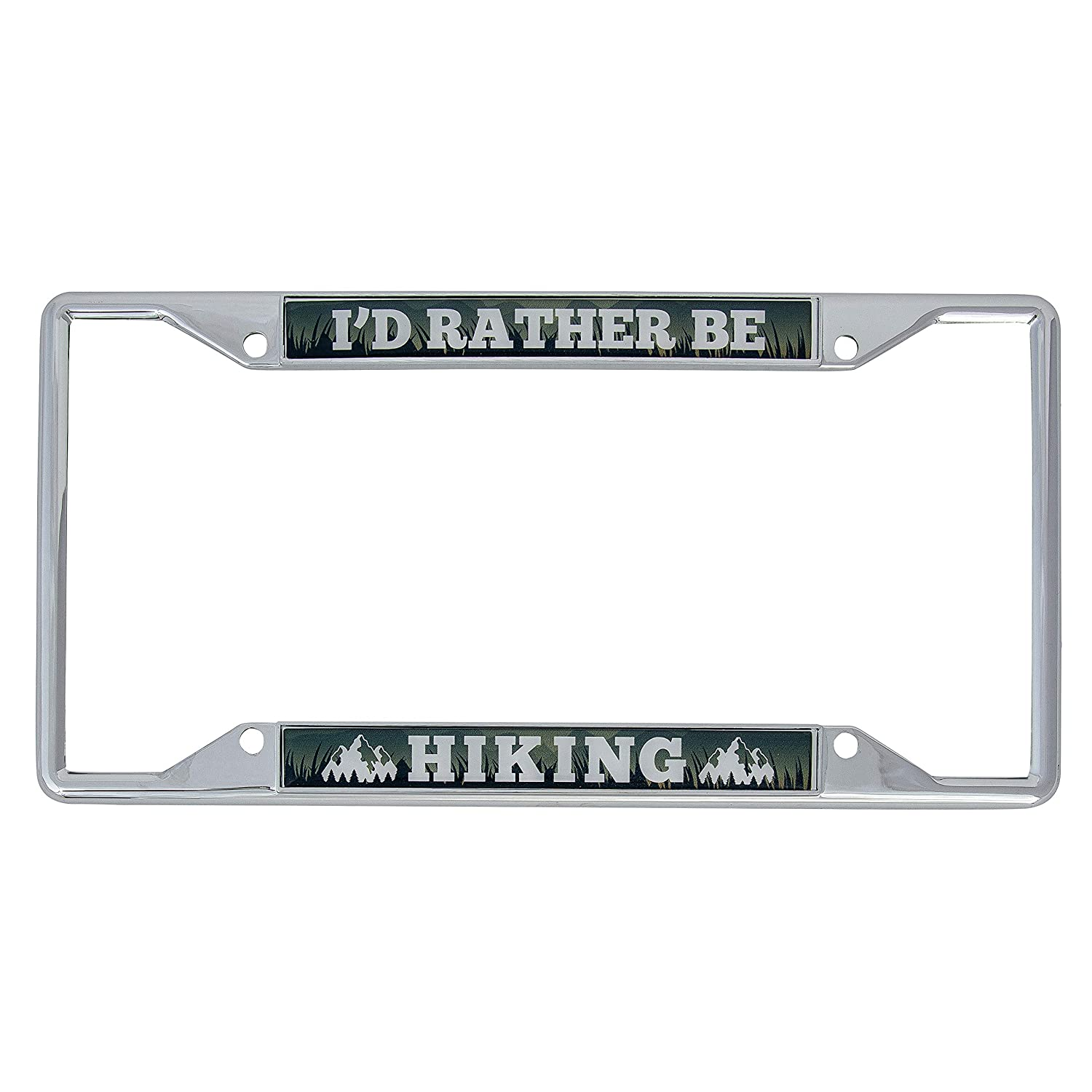 Hiking Desert Cactus Id Rather Be Hiking Metal Auto License Plate Frame Car Tag Holder