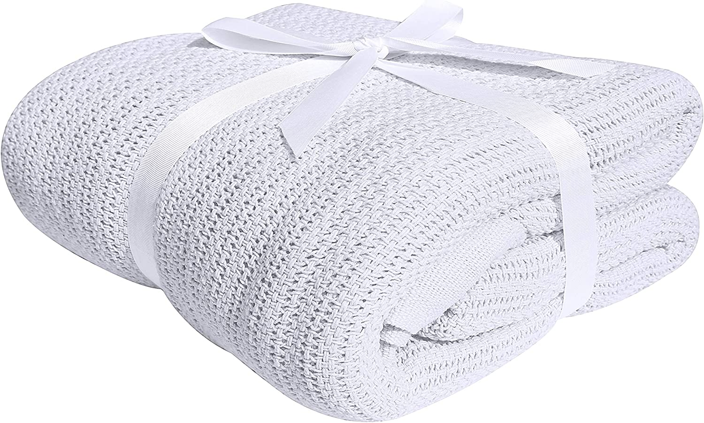 Blanco Manta de algod/ón 100 /% algod/ón suave y acogedora de Darling matrimonio