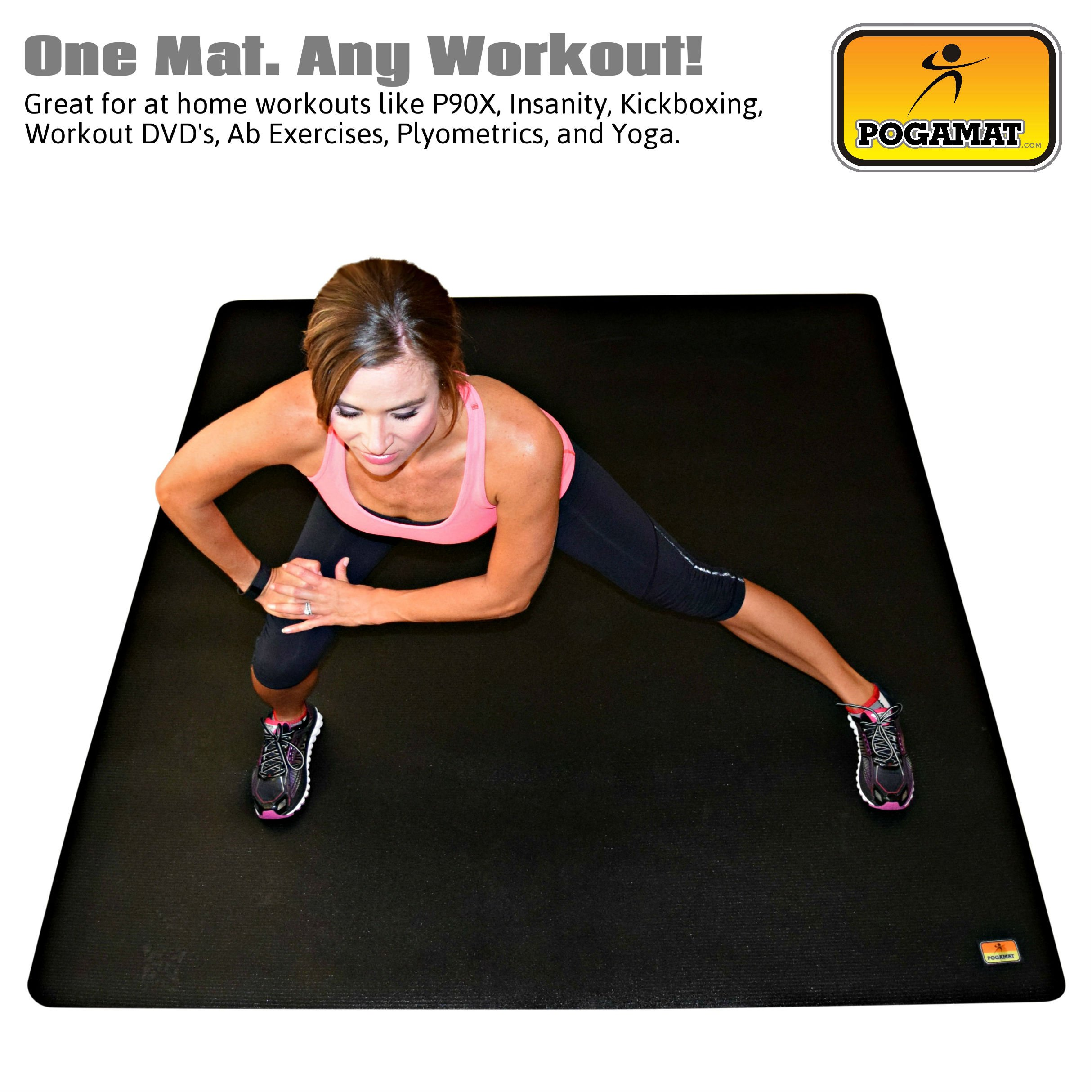 Pogamat Large Exercise Mat 78'' x 48'' x 1/4'' Thick (6.5' x 4') Anti-Tear Workout Mat And Yoga Mats. Perfect For All Types Of Exercises. Does Not ''Bunch Up'' While Working Out. Used WITH Or Without SHOES by Pogamat (Image #2)