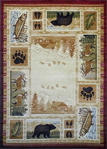 Masada Rugs Nature Area Rug Wildlife and Cabin Scene 7 Feet 7 Inch X 10 Feet 6 Inch