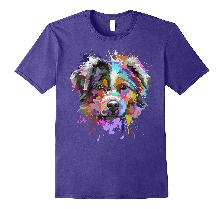 Splash Art Australian Shepherd T-Shirt | Aussie Lover Gifts-RT