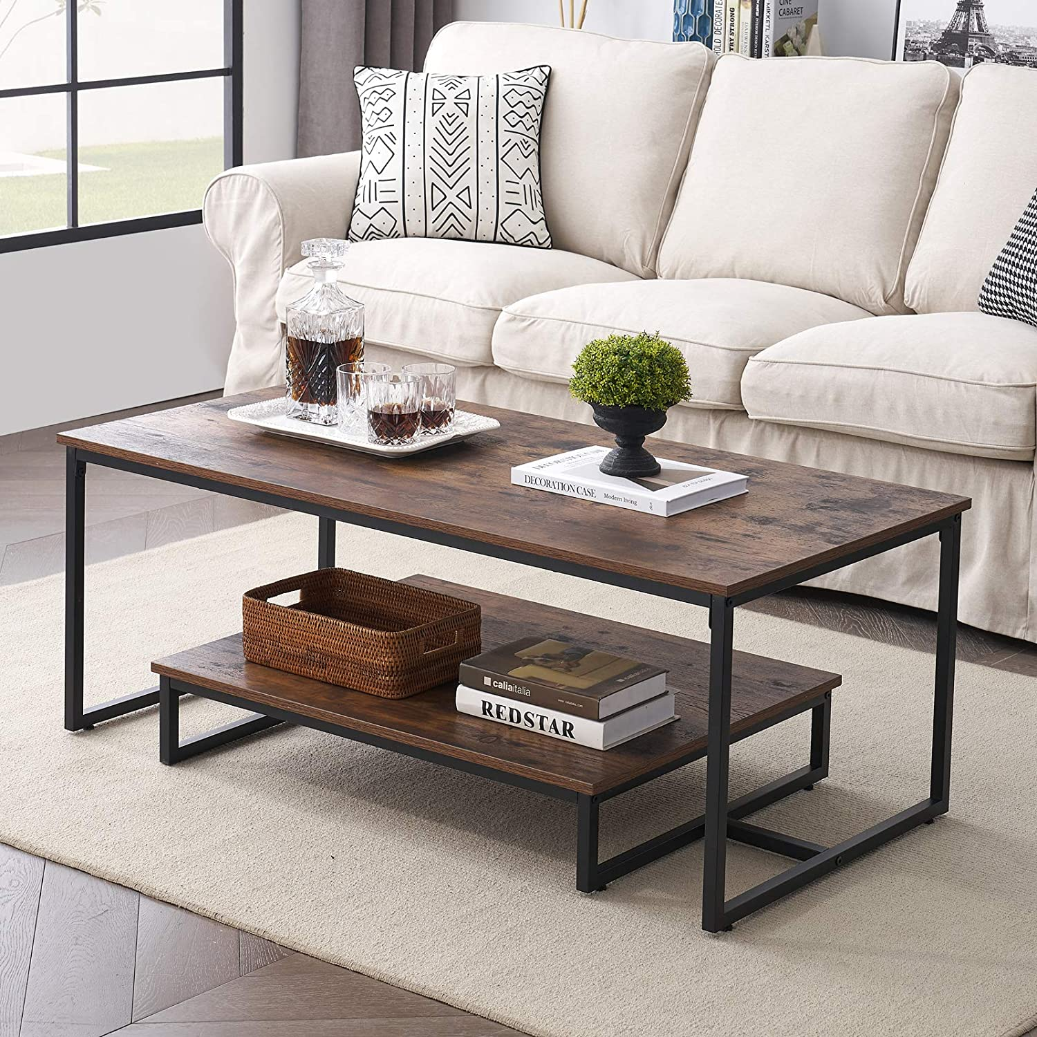 MHAOSEHU Industrial Coffee Table for Living Room, Rustic Cocktail Table with Storage Shelf, Wood Look Furniture with Metal Frame, 47 inch Rustic Brown