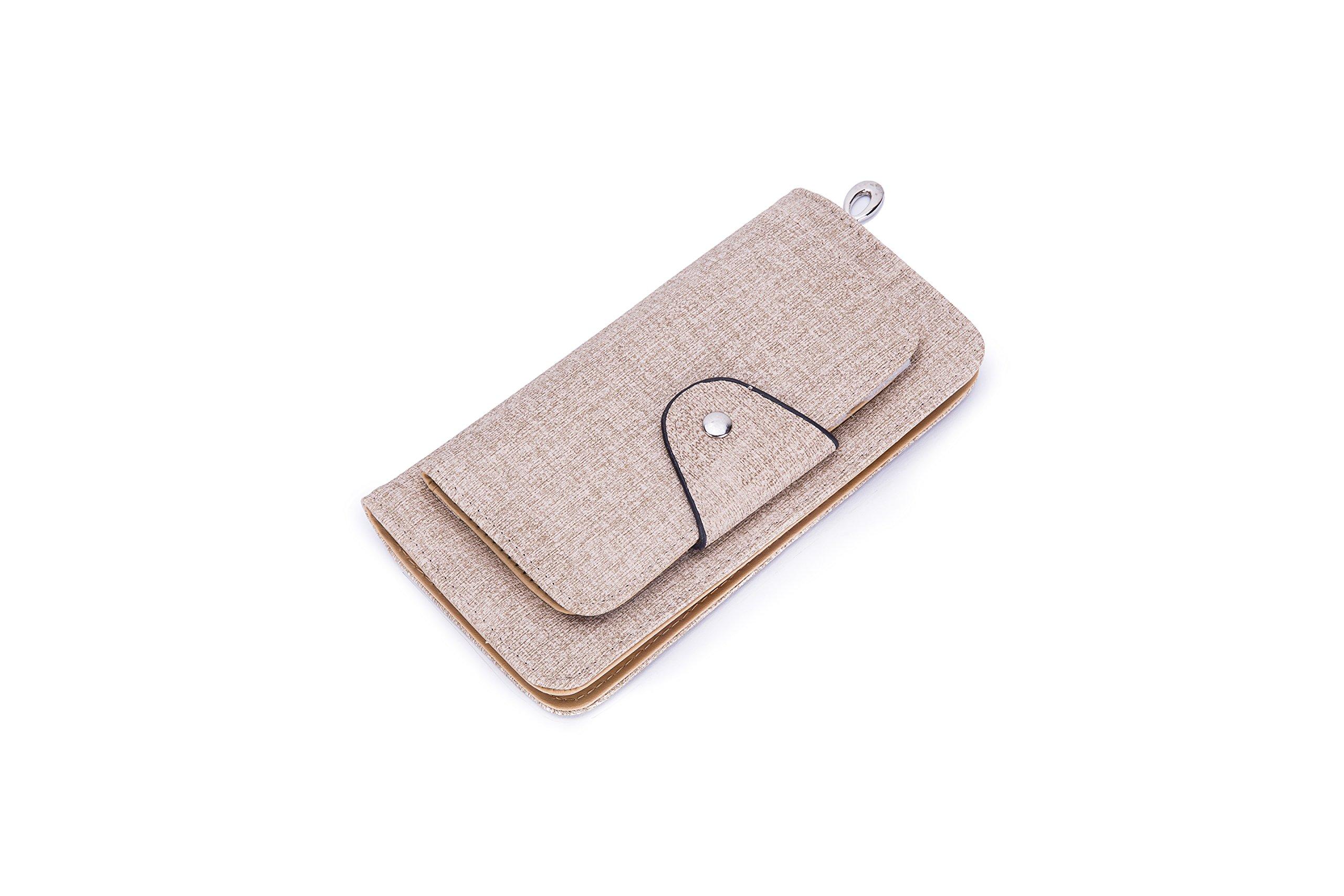 GLITZALL Women's Short Leather Card Holder Purse Zipper Buckle Elegant Clutch Wallet (Style-2 Apricot)