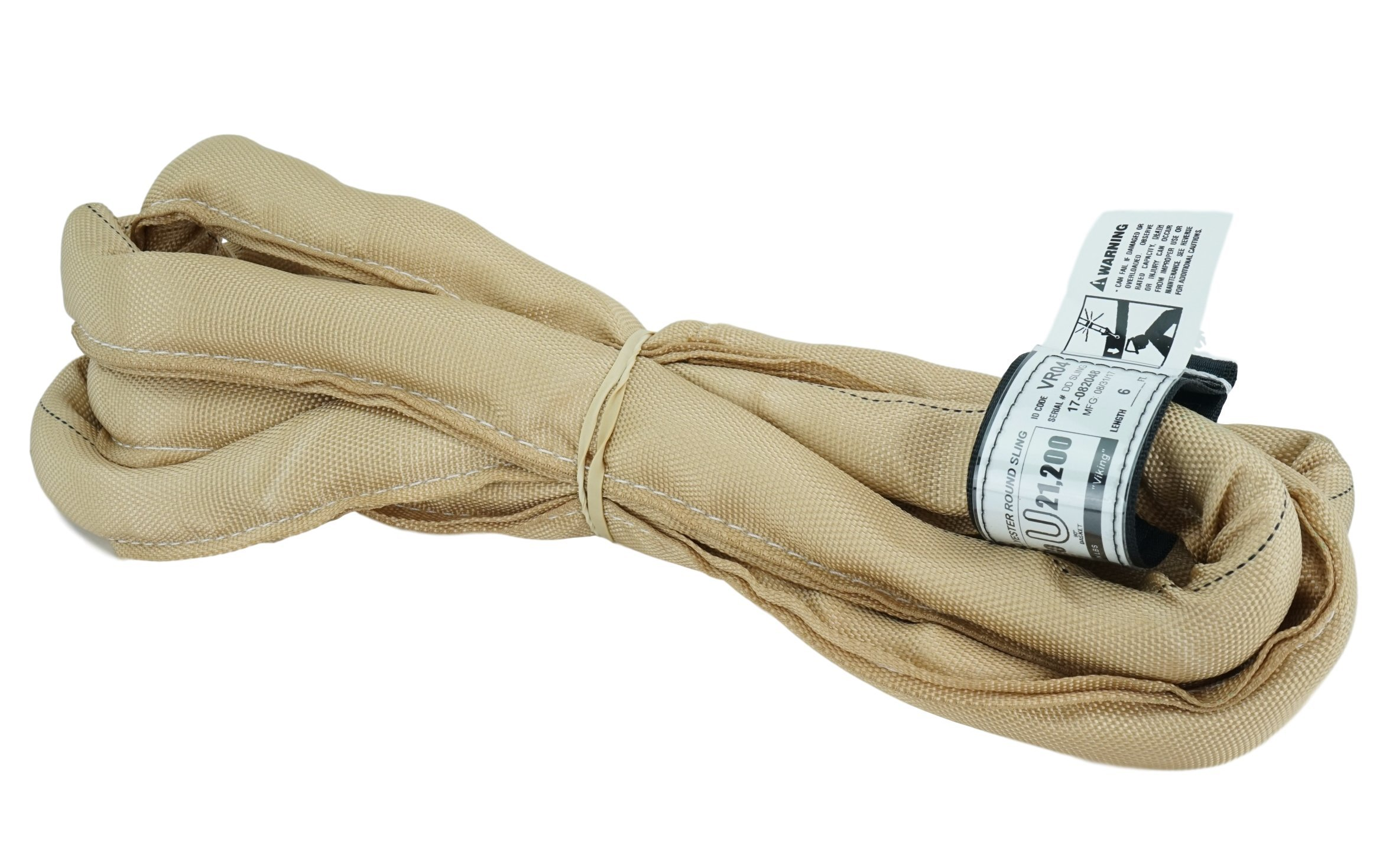 USA Made VR4 X 6' Tan Slings 4'-30' Lengths In Listing, DOUBLE PLY COVER Endless Round Poly Lifting Slings, 10,600 lbs Vertical, 8,500 lbs Choker, 21,200 lbs Basket (USA Poly) (6 FT)