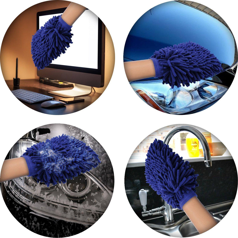 x1 Blu igadgitz Home U6844-KIT Microfibra Guanto Lavaggio Auto Spugna Assorbente Guanti Pulizia Auto