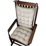 Rocking Chair Cushion Set - Ticking Stripe Black - Extra-Large / Presidential - Seat Cushion with Ties and Back Rest - Reversible, Latex Foam Fill - Made in USA (Black, Extra-Large)