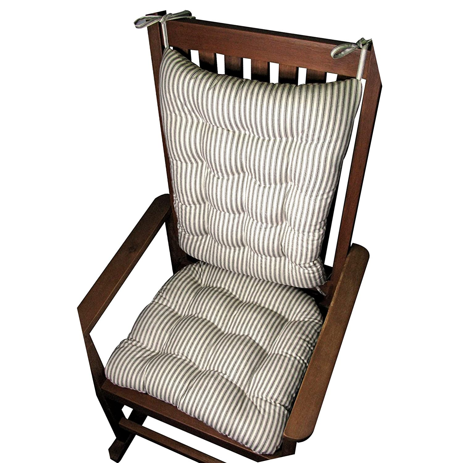 Amazon.com: Rocking Chair Cushion Set - Ticking Stripe Black ...