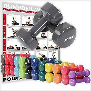 POWRX - Mancuernas vinilo 20 kg set (2 x 10 kg) + PDF Workout
