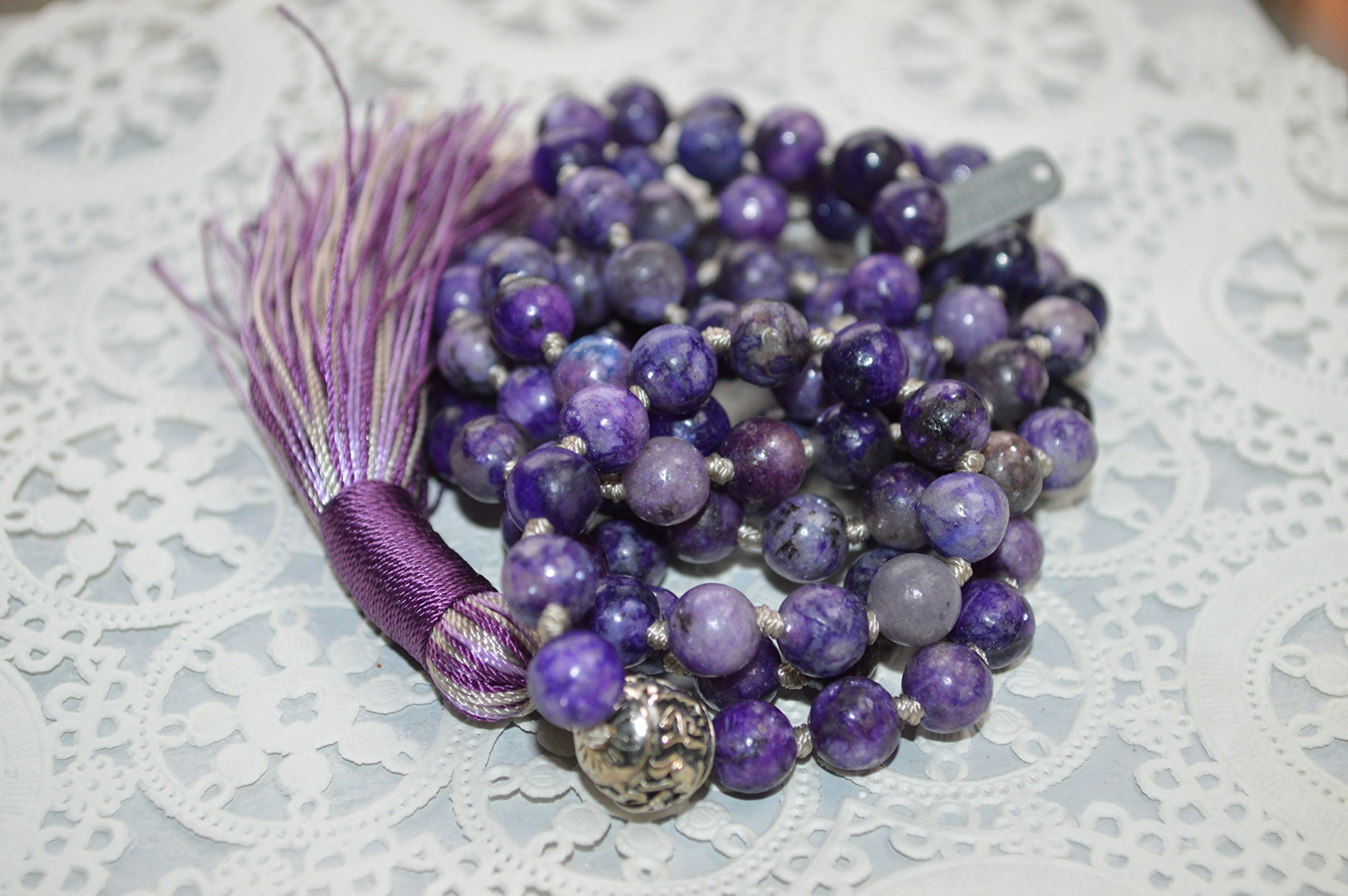 108 Genuine Knotted Lepidolite Mala Beads Necklace, Energized Lepidolite Mala, 8 mm Lepidolite Necklace, Purple and Green Mala