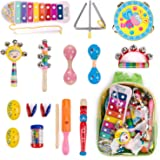 Amagoing 15Pcs Toddler Kids Wood Percussion Musical Instruments Toy Set With Storage Backpack For Early Education
