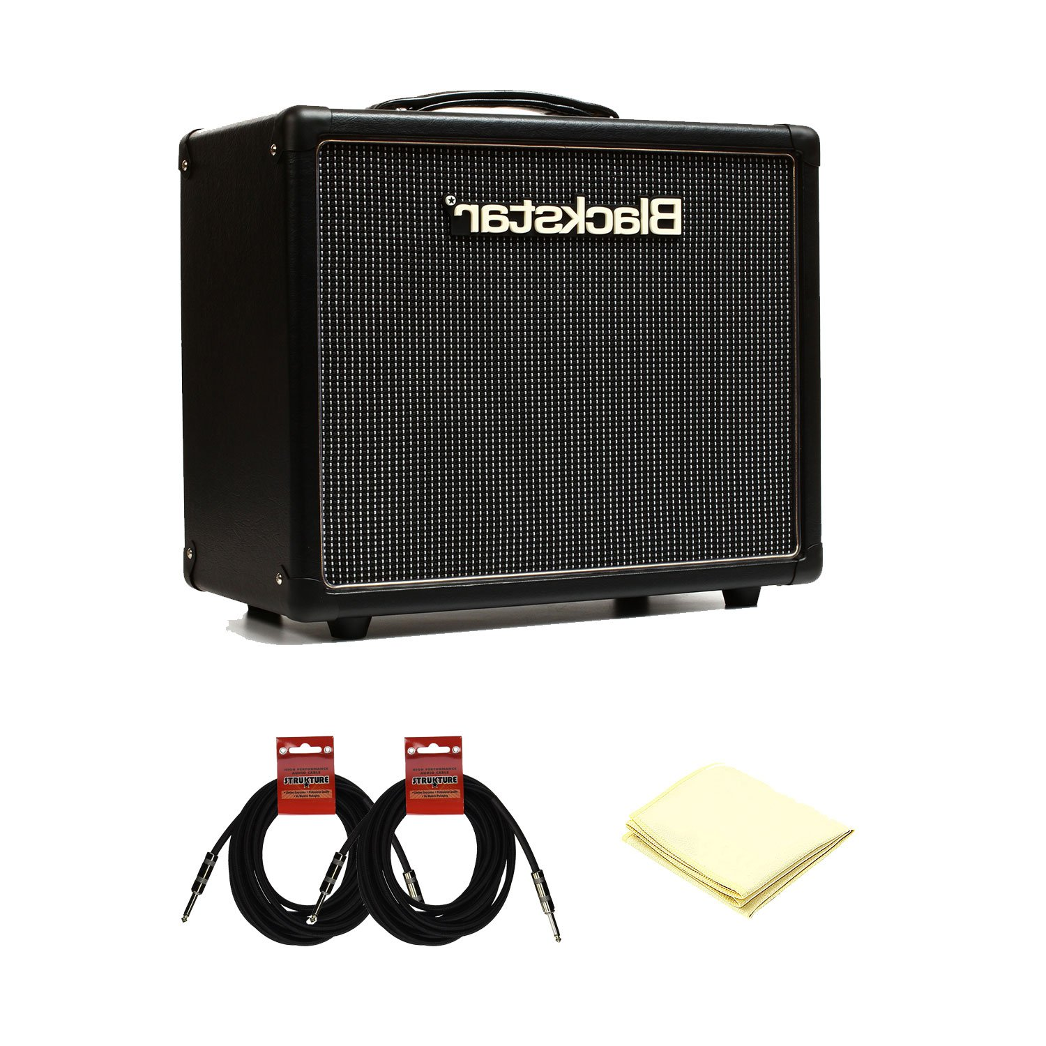 Blackstar HT Series HT-5R Tube Guitar Combo Amp with a Pair of 18. 6ft Instrument Cable and Amplifier Polishing Cloth