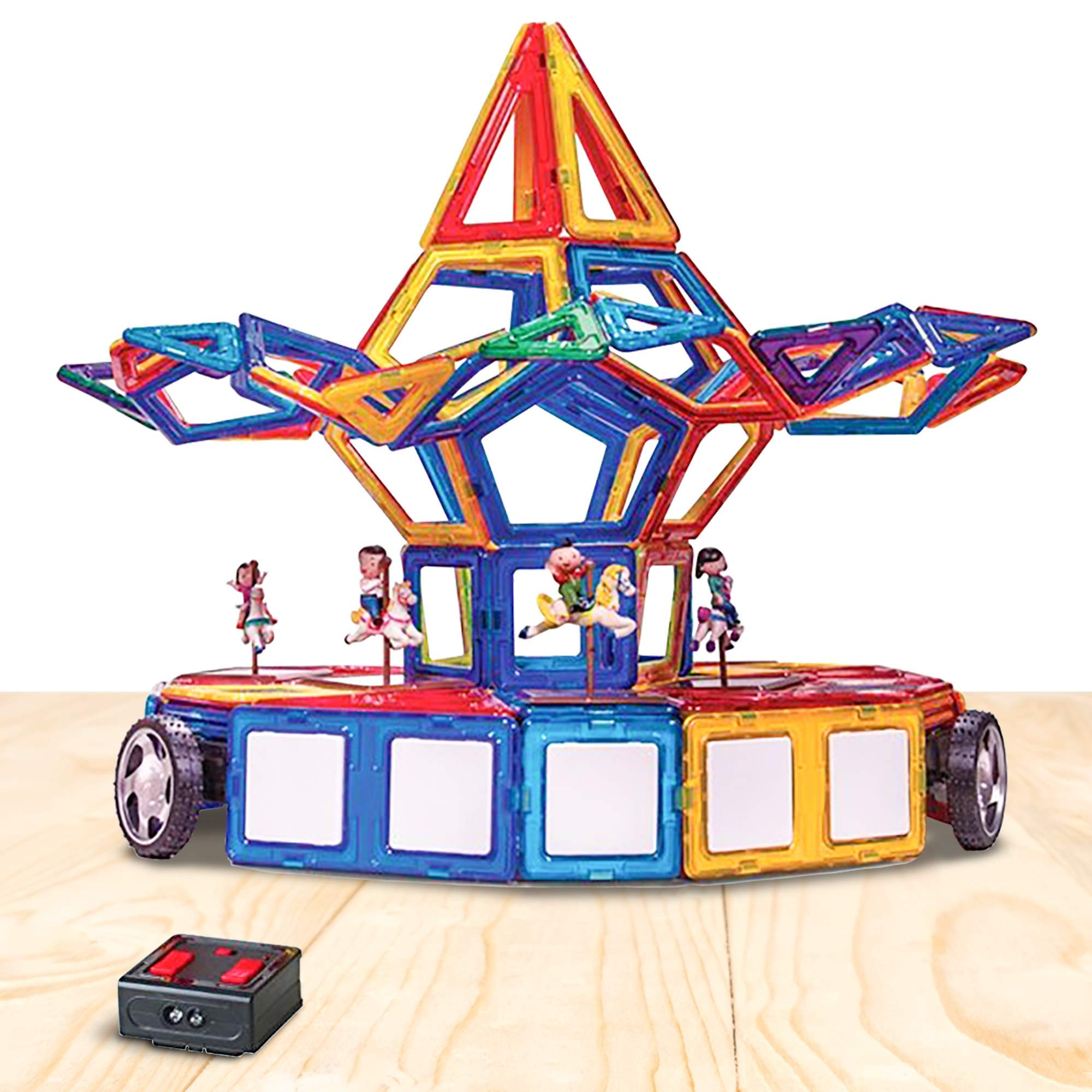 ArtCreativity Mega Magnetic Tiles Building Blocks Set (125-Piece) | Kids' Magnet Toy Carnival Construction Kit | Over 80 Shapes, Wheels, Remote Control, Storage Box and More | Educational STEM Toy by ArtCreativity (Image #3)