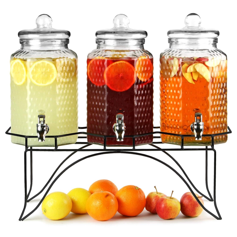 Del Sol - Dispensador de bebidas triple, 12 l. Dispensador para zumos, cócteles o limonada