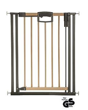Geuther - Türschutzgitter Easylock Wood, 2792+, für Kinder, Hunde und Katzen, Befestigung ohne Bohren, zum klemmen, umbaubar