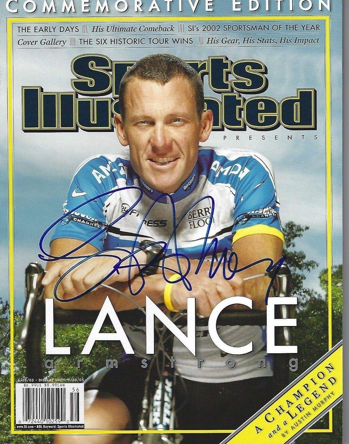 LANCE ARMSTRONG Signed 6/28/05 SPORTS ILLUSTRATED with Schwartz COA (NO LABEL) Autographed Sports Magazines