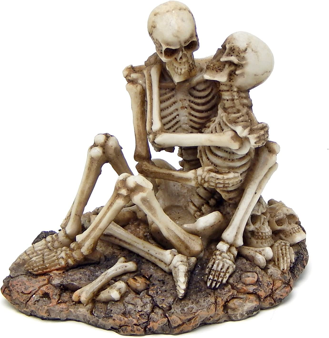 Bellaa 26836 Skeleton Lovers Skulls Statues 5 inch