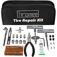 Hromee 56 Pieces Tire Repair Tools Kit for Car, Trucks, Motorcycle, ATV, RV Universal Emergency Flat Tire Puncture Repair Patch Set with Portable Bag