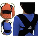 Premium Comfortable Adjustable Posture Corrector. Upper Back Clavicle Support Brace Improves Kyphosis and Lower Back Pain for Men and Women through Natural Posture Relief REG
