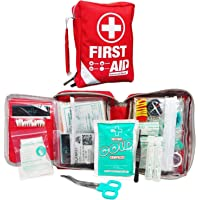 First Aid Kit - Small Compact First Aid Kit Bag(175 Piece) - Reflective Bag Design- Includes 2 x Eyewash, Instant Cold Pack, CPR Respirator, Emergency Blanket for Travel, Home, Office, Vehicle,Camping