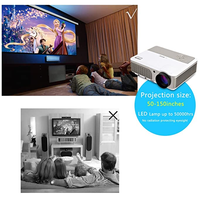 EUG LED HDMI TV Projector HD 1080p 720p Support 1024x600 ...