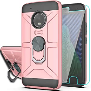 Moto G5 Plus Case, Moto X 2017 Case with HD Screen Protector YmhxcY 360 Degree Rotating Ring Kickstand Holder Dual Layers of Shockproof Phone Case For Motorola Moto G Plus(5th Generation)-ZS Rose Gold