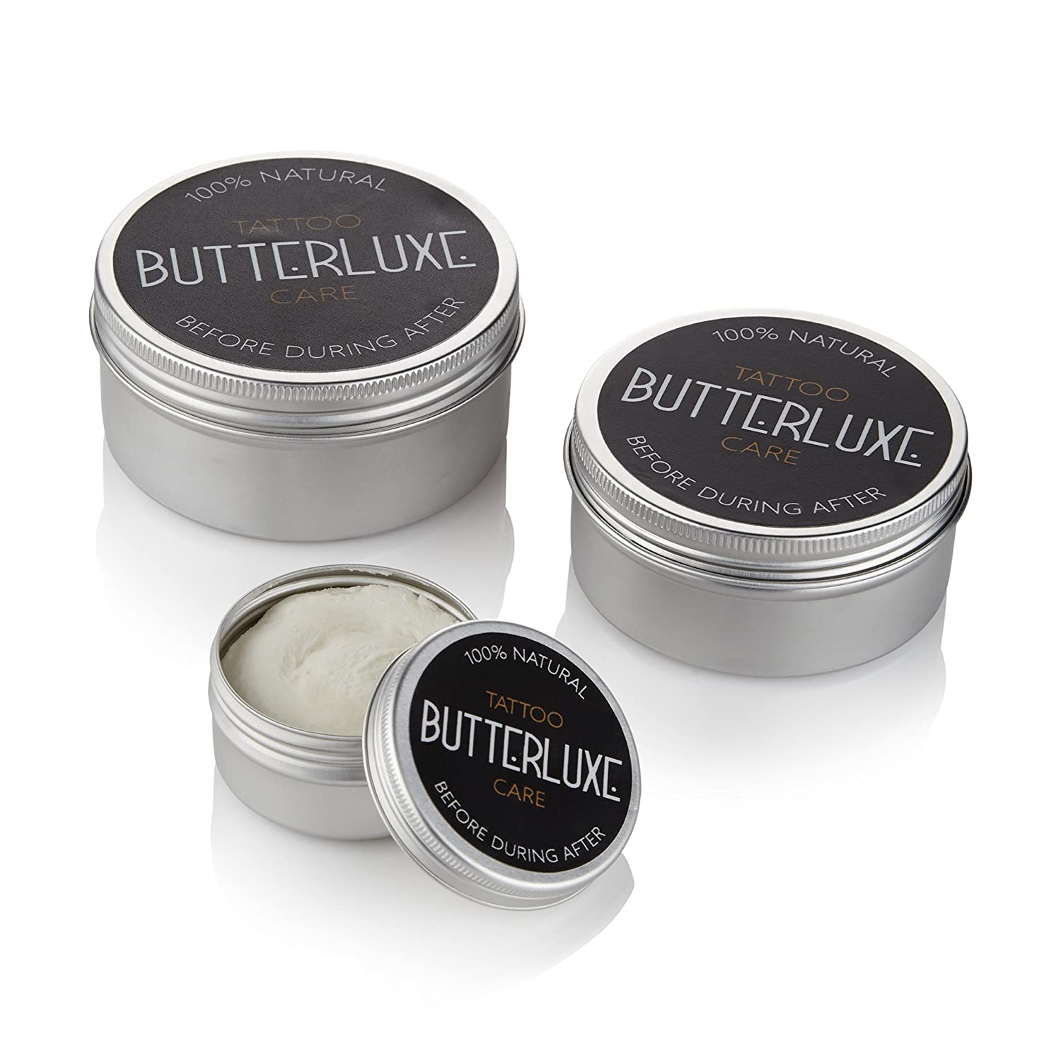 Butterluxe Tattoo Aftercare for Fresh & Old Ink - Healing & Moisturising - 100% Natural - 100% Organic - Made in the UK - Anti-Inflammatory & Anti-Bacterial-Choose Tin Size (50ml) Starr Tattoo