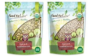 Organic Seed Kernels Bundle - Organic Pepitas/Pumpkin Seeds, 1 Pound and Organic Sunflower Seeds, 1 Pound - Non-GMO, Kosher, Raw, Vegan, No Shell