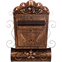 LB6028 Antieke, grote en zeer elegante brievenbus, brons, aan de muur, brievenbus, vintage Engelse brievenbus, metaal…
