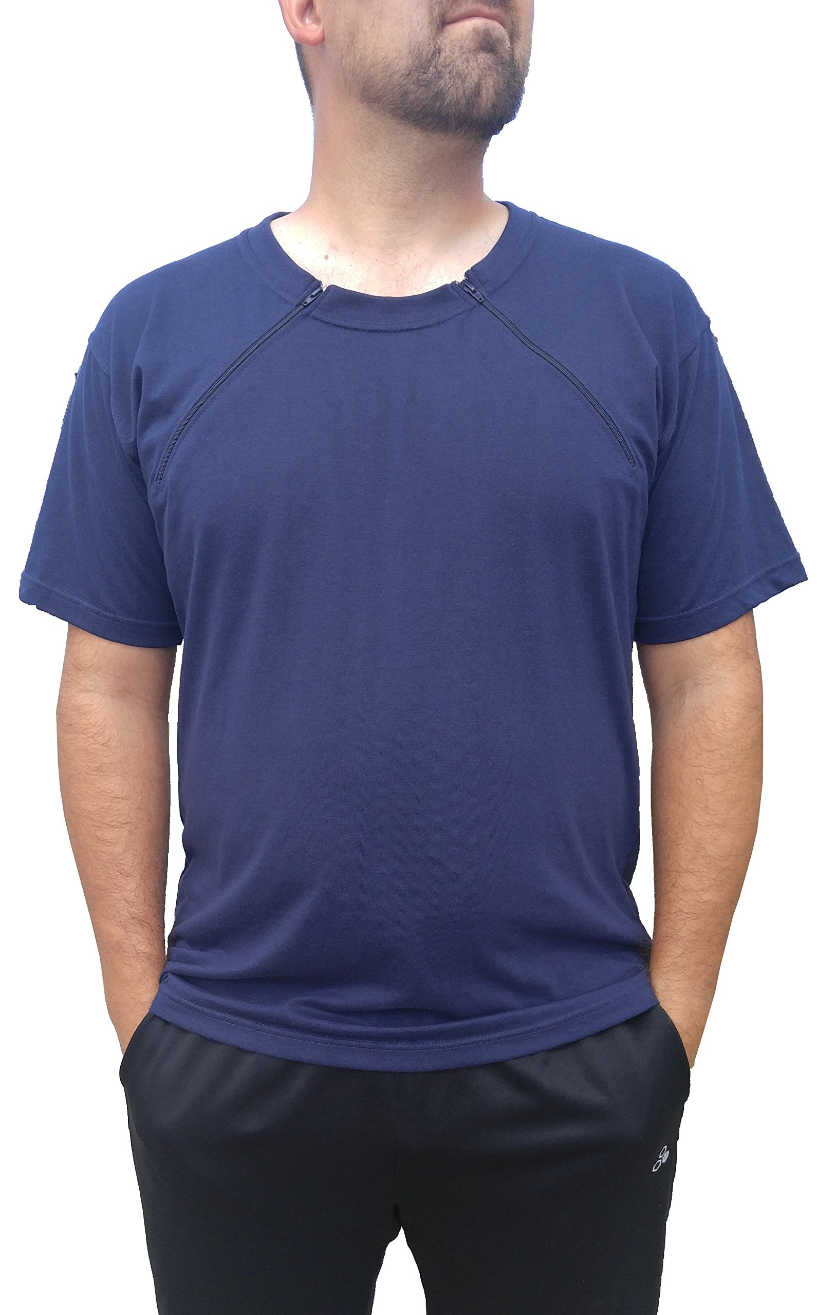 Comfy Care Men's Chest Port Zipper Chemo Shirts | Gift For Chemotherapy Cancer Patients (Small, Navy)