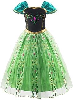 Almce Little Girls Princess Dress Anna Costume Fancy Dress Halloween Party