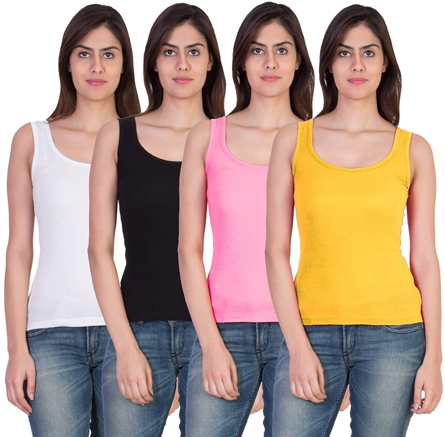 Combo of 4 Tank Top Vest Camisole Sando for Women Multi Color