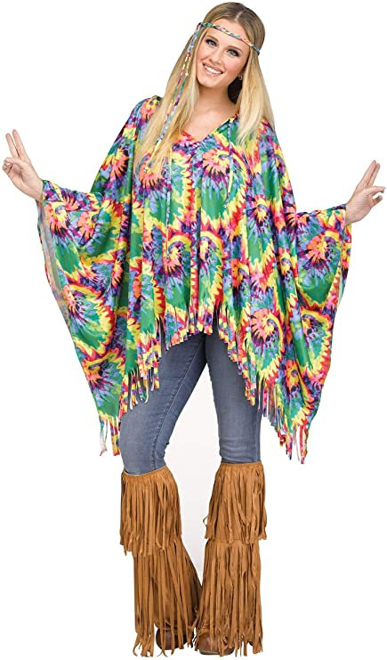 70s Costumes: Disco Costumes, Hippie Outfits Fun World Adult Tie Dye Hippie Poncho $23.48 AT vintagedancer.com