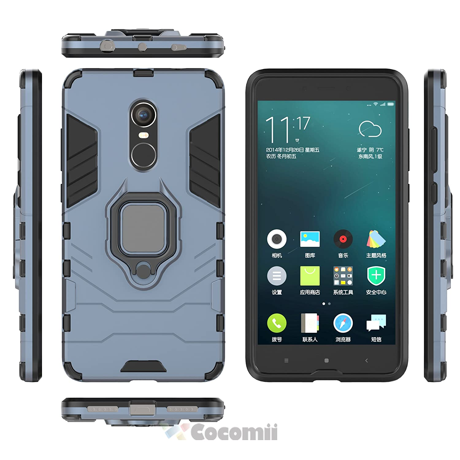 Amazon Co ii Black Panther Armor Xiaomi Redmi Note 4 Note 4X Case New [Heavy Duty] Tactical Metal Ring Grip Kickstand Shockproof [Works with Magnetic