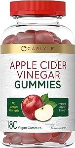 Apple Cider Vinegar Gummies   180 Count   600mg   Natural Apple Flavor   Vegan, Non-GMO, Gluten Free   ACV Supplement   by Carlyle