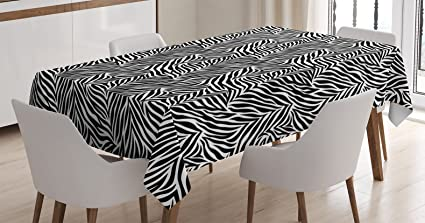 Ambesonne Zebra Print Decor Tablecloth Animal Pattern Fashionable Trendy Decorating Illustration Dining