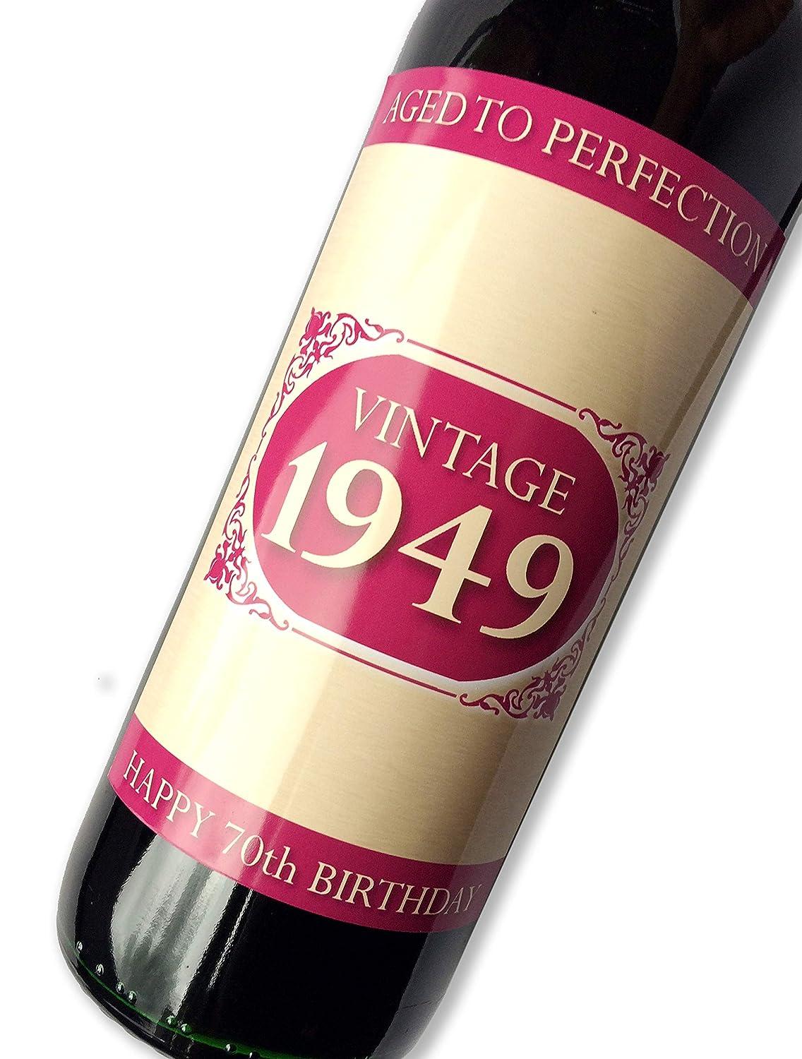 Purpleproducts 1949 Vintage Rose Happy 70è me Anniversaire 2019 é tiquette de Bouteille de vin Cadeau pour Homme et Femme Purple Products